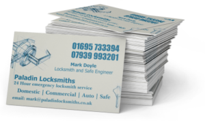 Paladin Locksmiths business cards